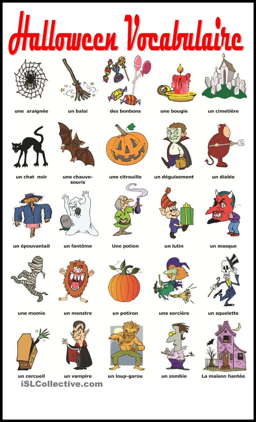 Halloween Vocabulaire | Education | Halloween Vocabulary, French - Free Printable French Halloween Worksheets