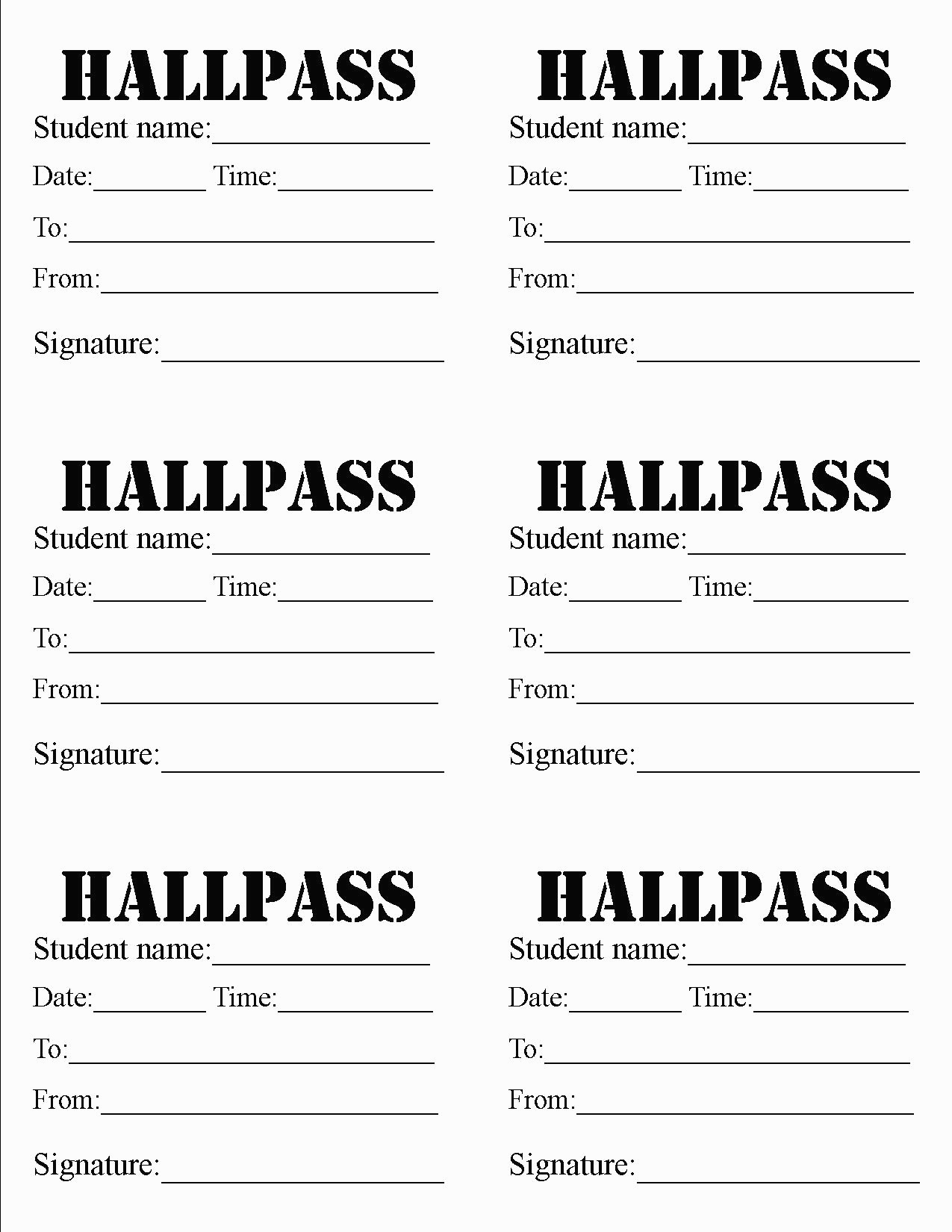 Hallway Pass Template Things That Make You Love And Hate - Marianowo - Free Printable Hall Pass Template