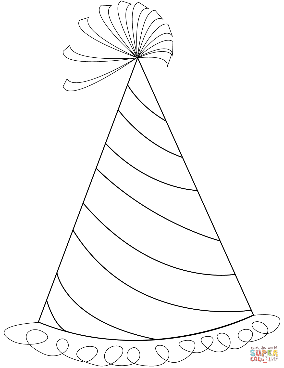 Happy Birthday Party Hat Coloring Page | Free Printable Coloring Pages - Free Printable Birthday Party Hats