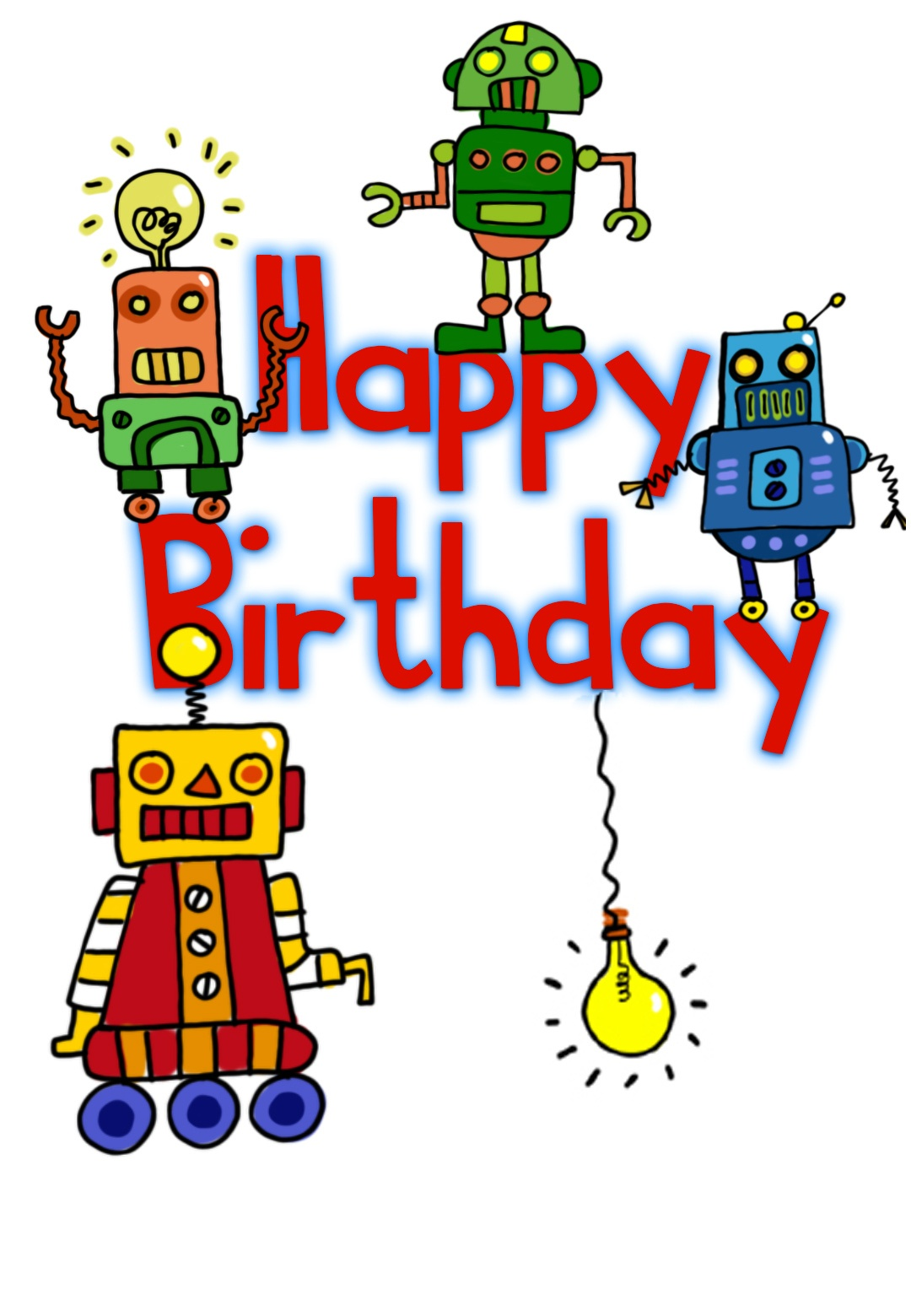 Happy Birthday Robots - Birthday Card (Free) | Greetings Island - Free Printable Birthday Cards For Kids