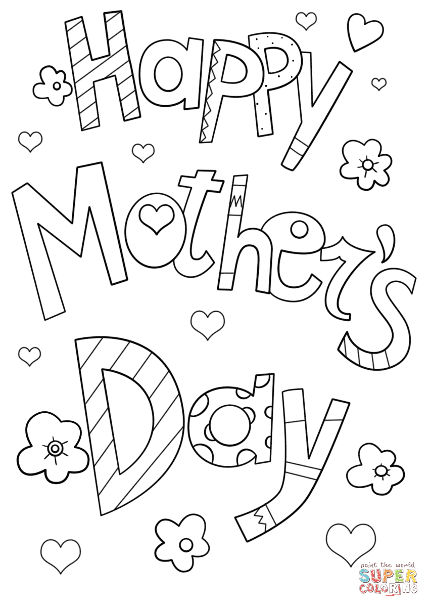 Happy Mother's Day Doodle Coloring Page | Free Printable Coloring - Free Printable Mothers Day Coloring Pages