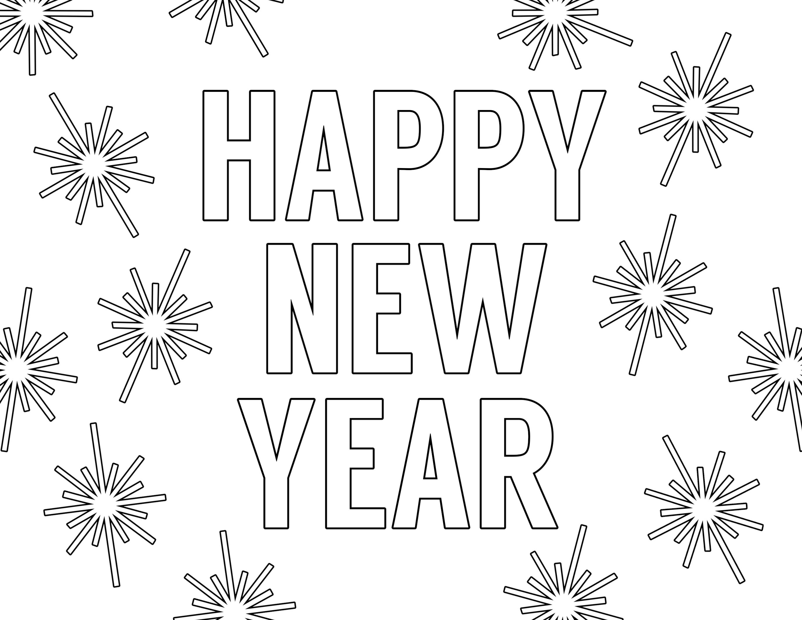 Happy New Year Coloring Pages Free Printable - Paper Trail Design - New Year Coloring Pages Free Printables