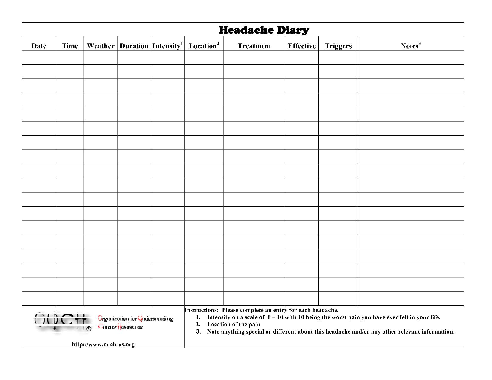 Headache Diary Headache Diary | Health | Headache Diary, Printables - Free Printable Headache Diary