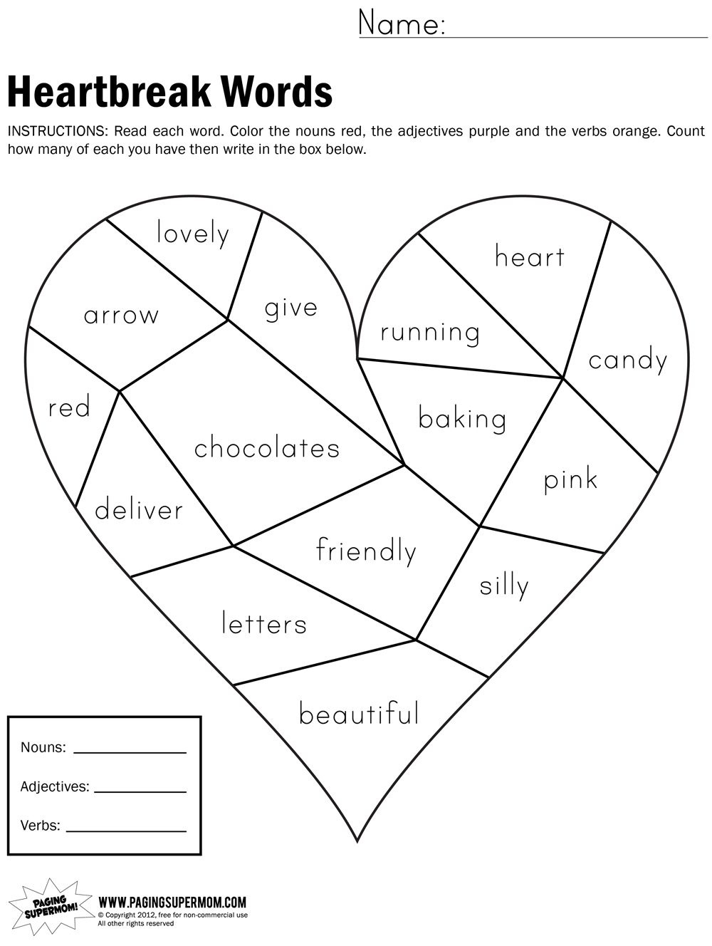Heartbreak Words Free Printable Worksheet | Education---February - Free Valentine Math Worksheets And Printables