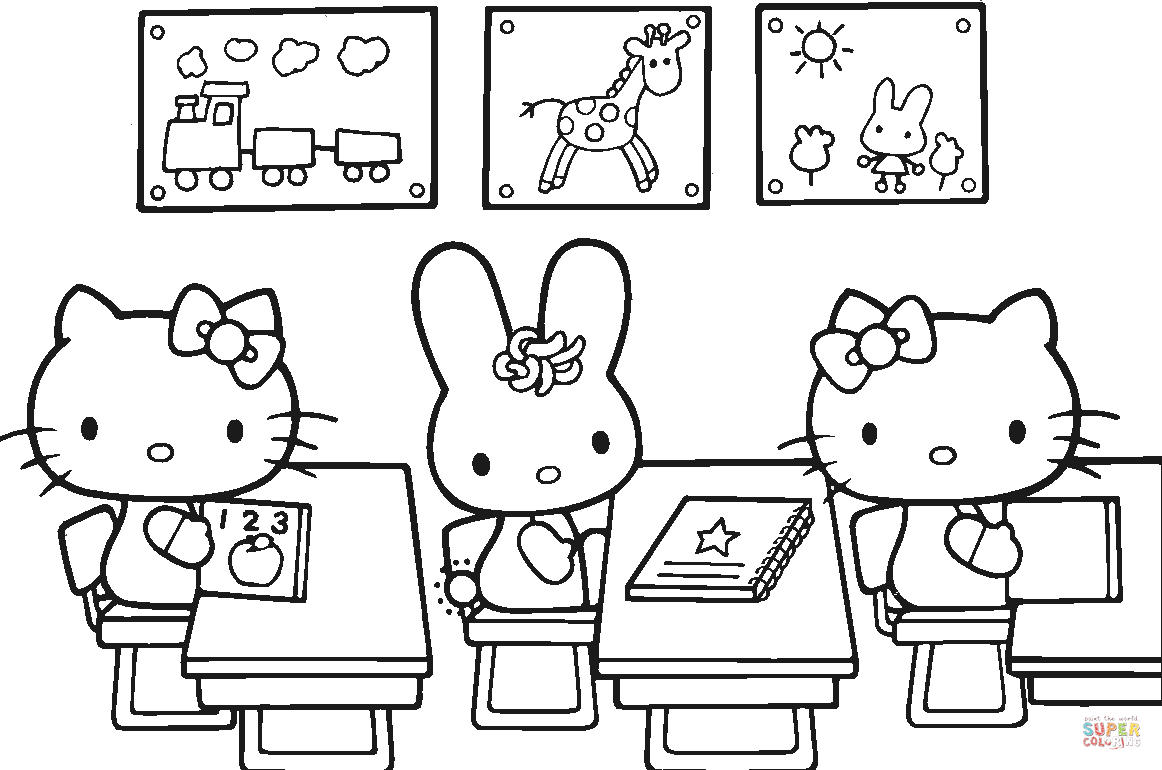 Hello Kitty Back To School Coloring Page   Free Printable Coloring Pages - Free Printable First Day Of School Coloring Pages