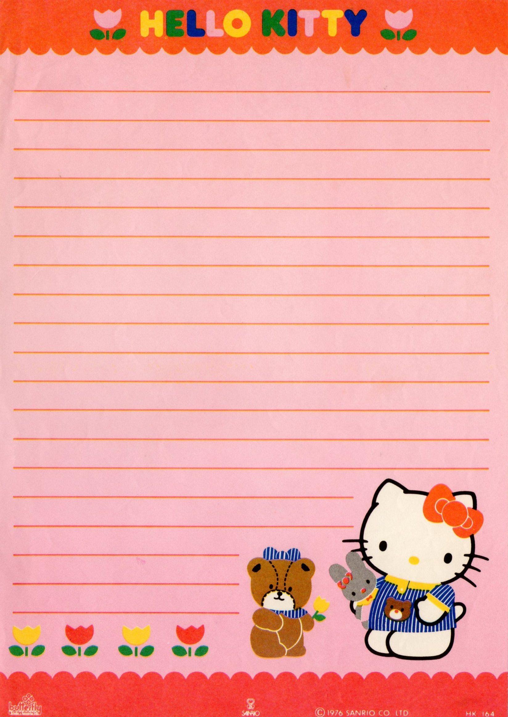 Hello Kitty Vintage Stationery Papel De Carta   Writing Paper - Free Printable Hello Kitty Stationery