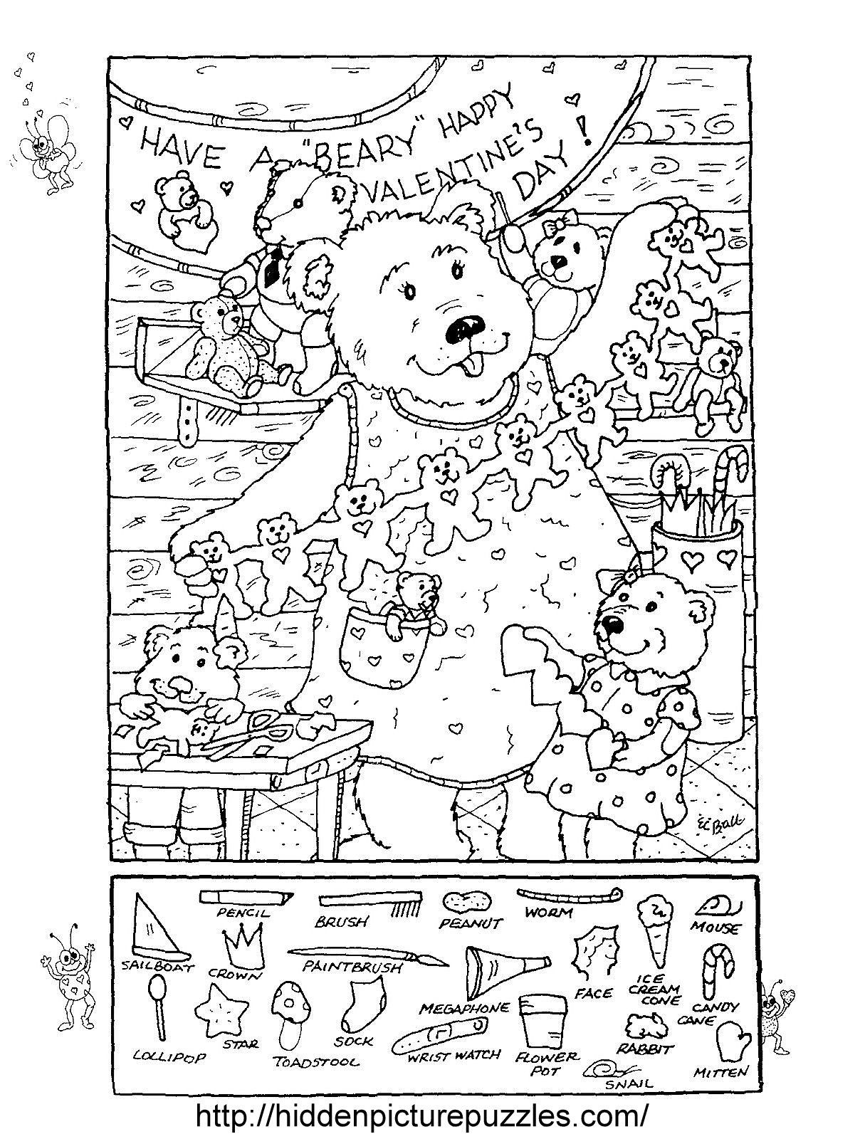 Hidden Pictures Publishing: Hidden Picture Puzzle/coloring Page For - Free Printable Valentine Hidden Pictures