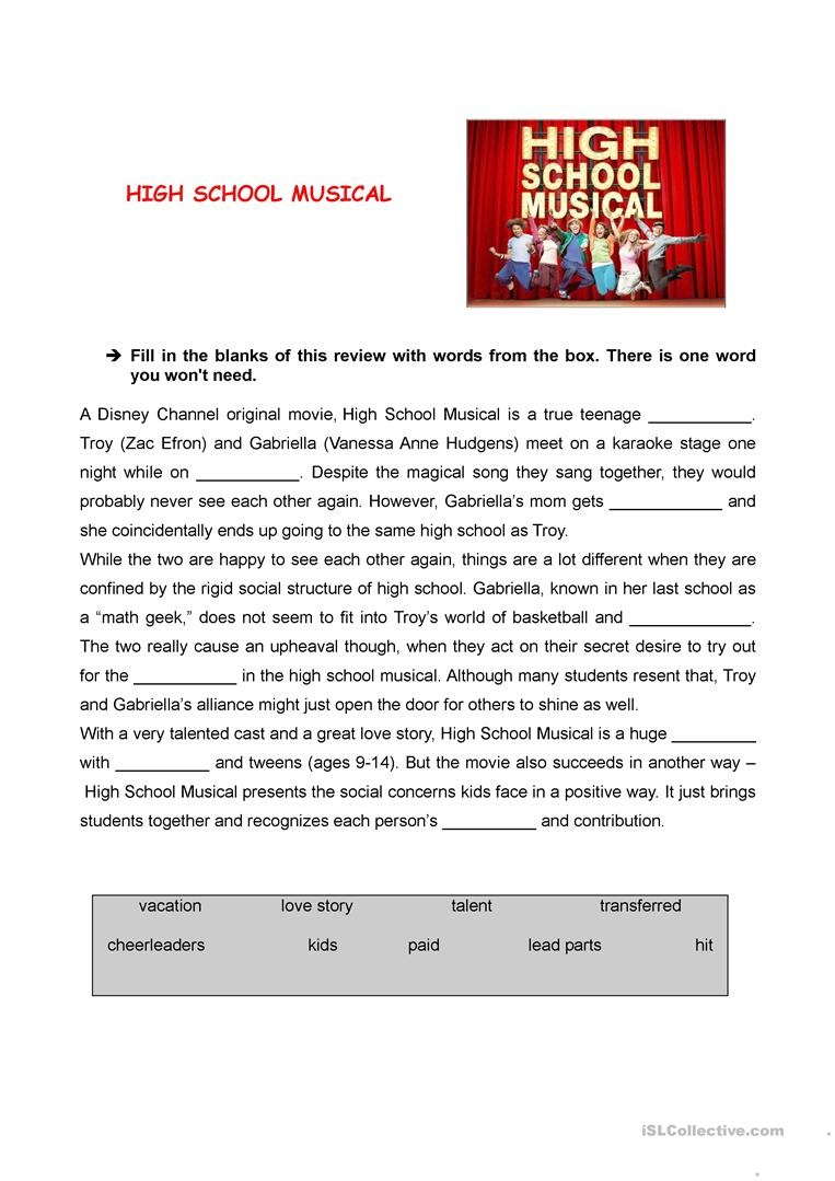 High School Musical Review Worksheet - Free Esl Printable Worksheets - Free Printable Esl Worksheets For High School
