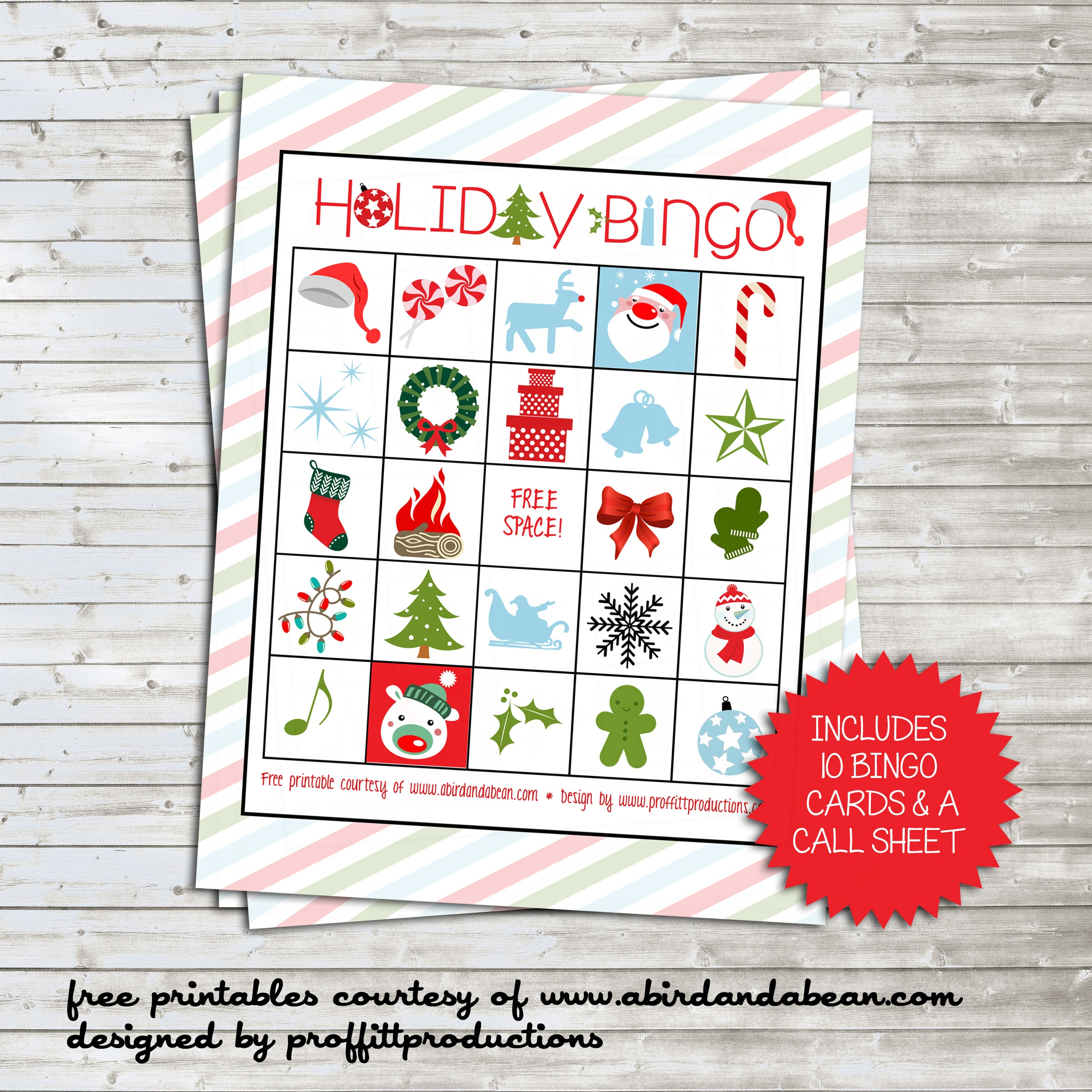 Holiday Bingo Set :: Free Printable - Free Printable Bingo Cards And Call Sheet