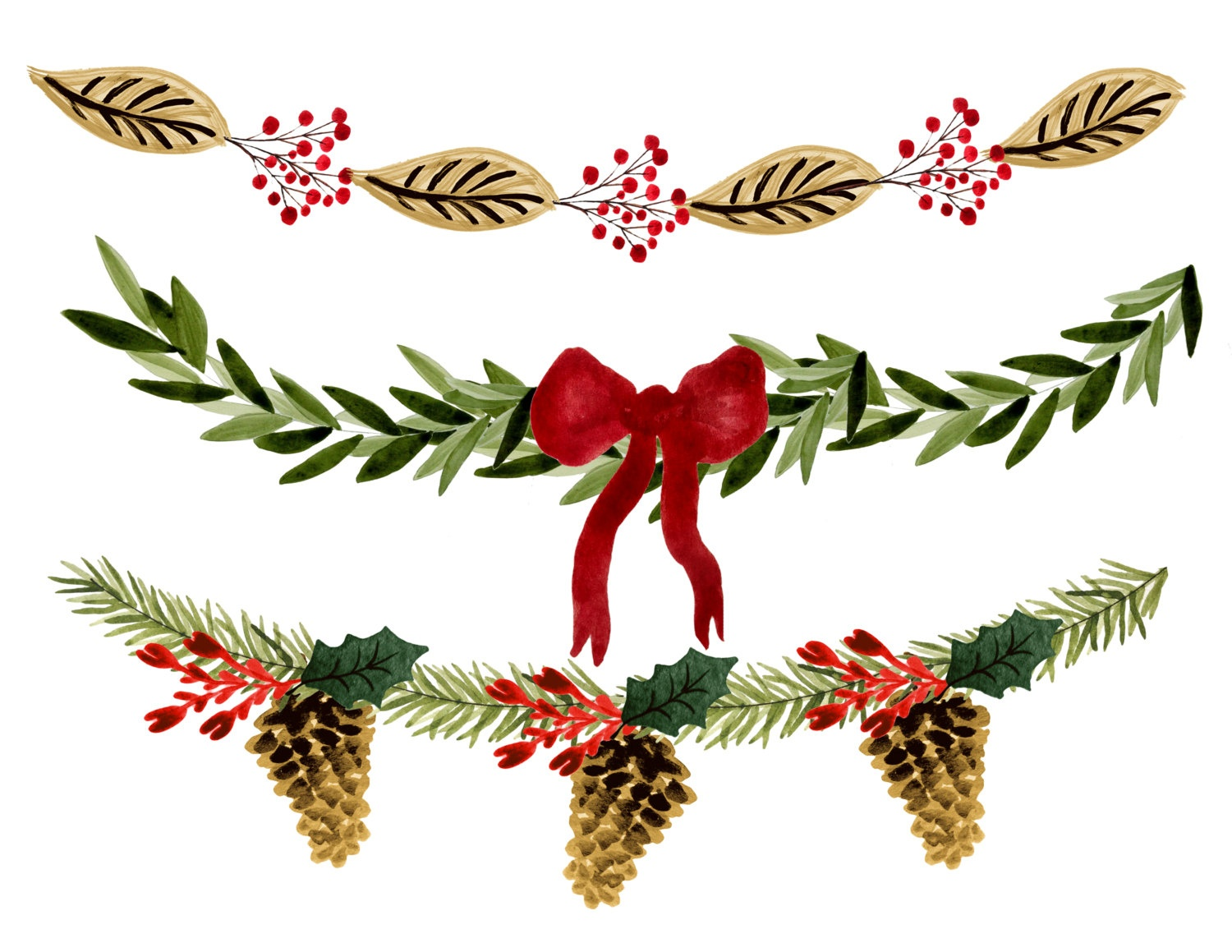 Holiday Garland Clipart | Free Download Best Holiday Garland Clipart - Christmas Garland Free Printable