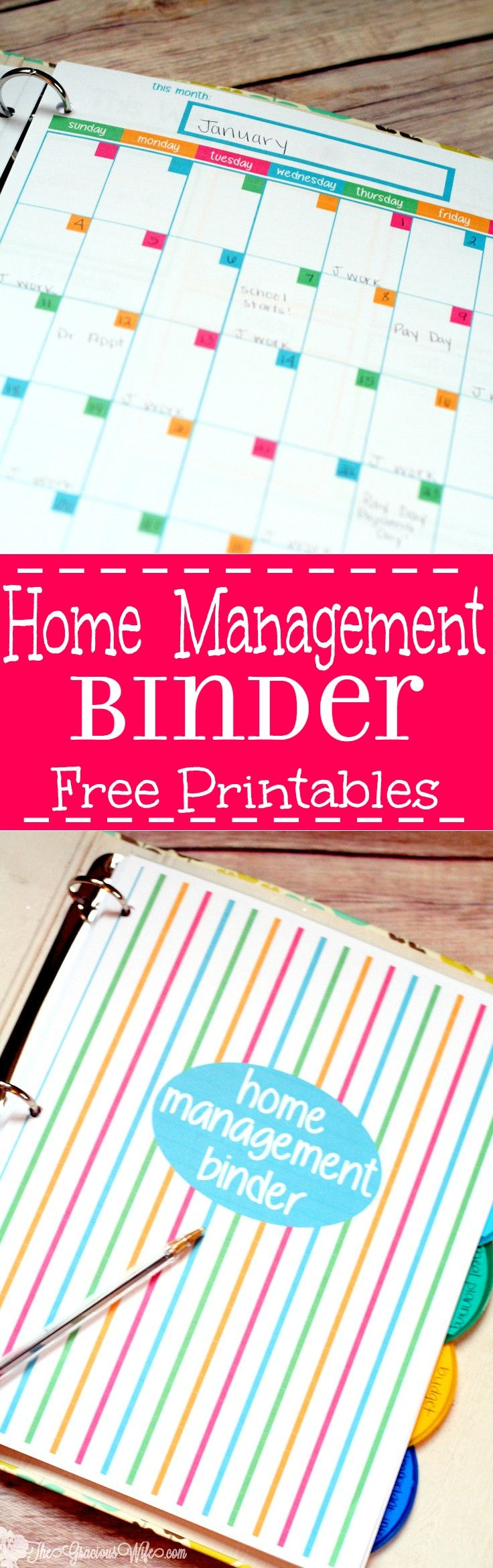 Home Management Binder - Free Printables | The Gracious Wife - Free Home Organization Binder Printables