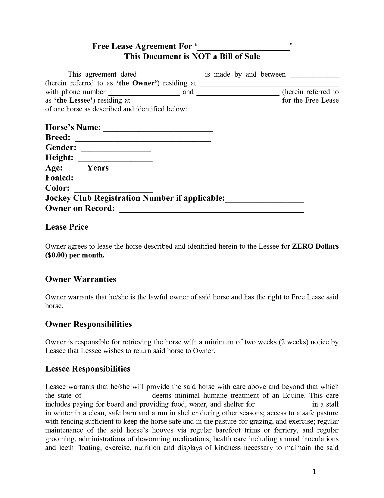Horse Template Printable | Free Basic Lease Agreement | Country - Man In The Arena Free Printable