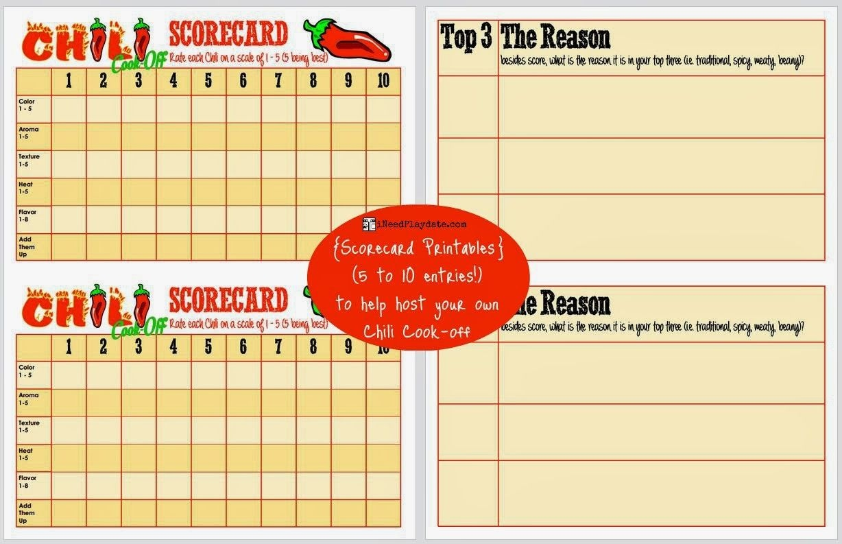 Hosting A Chili Cook-Off In 5 Easy Steps - Scorecard Printable (Free - Chili Cook Off Printables Free