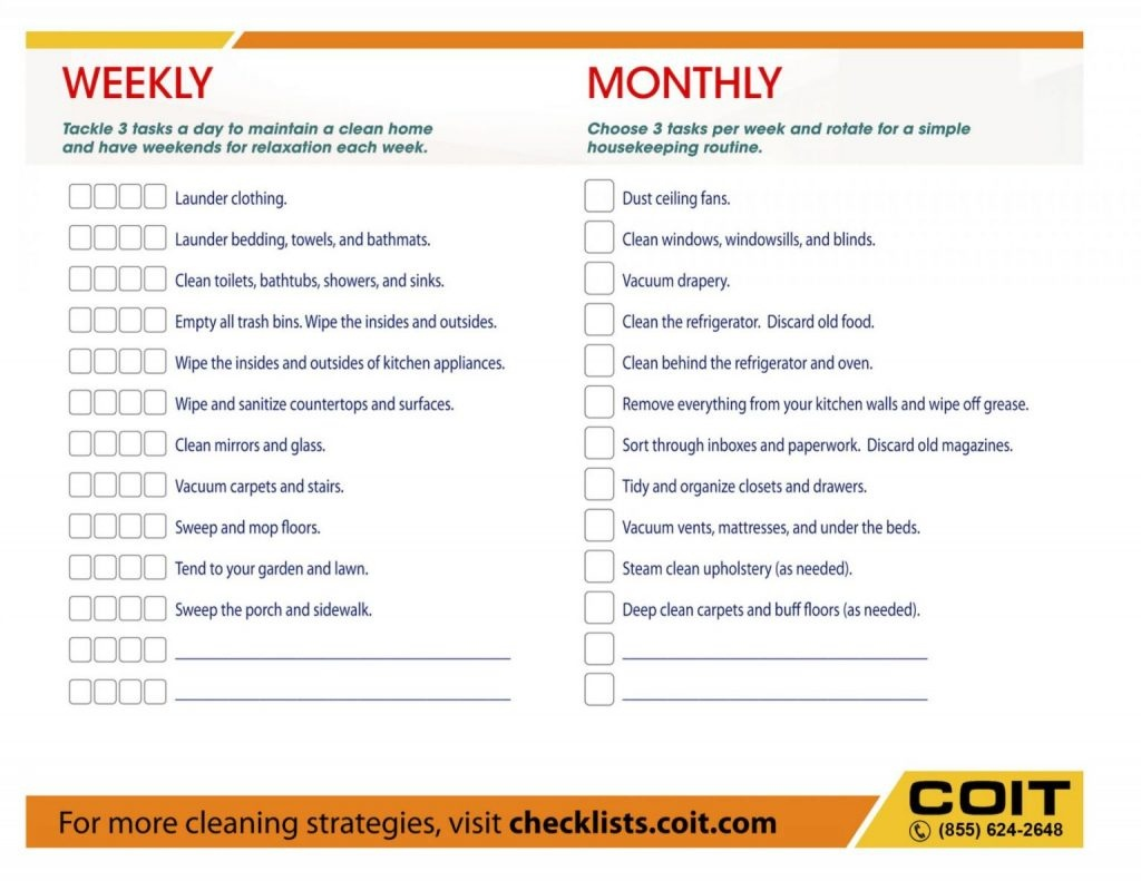 House Cleaning Checklist Pdf Unique Cleaninglist The Ultimate - Free Printable House Cleaning Checklist For Maid