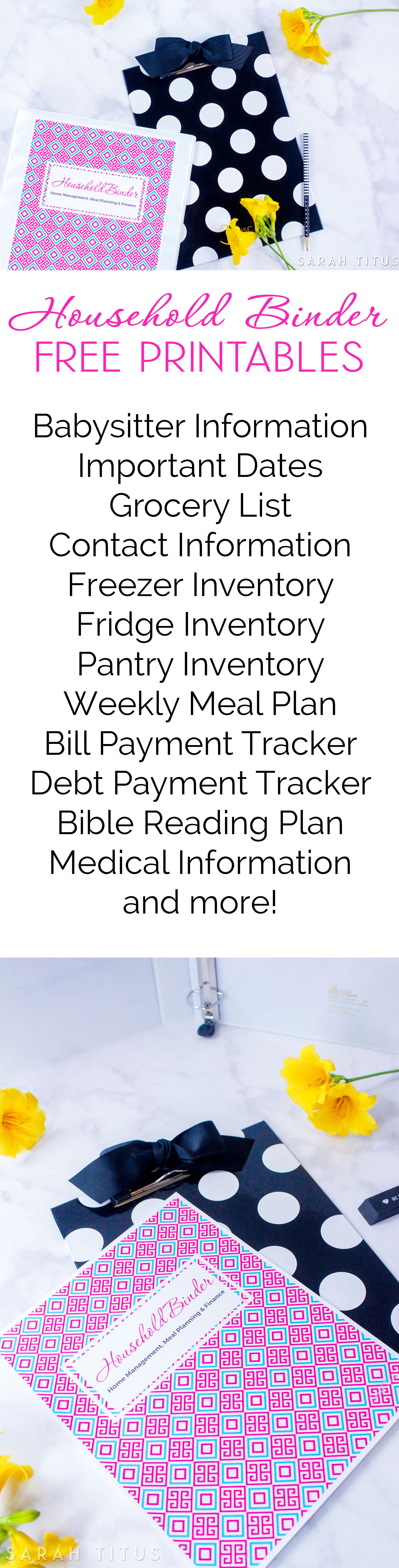 Household Binder Free Printables - Sarah Titus - Free Home Organization Binder Printables