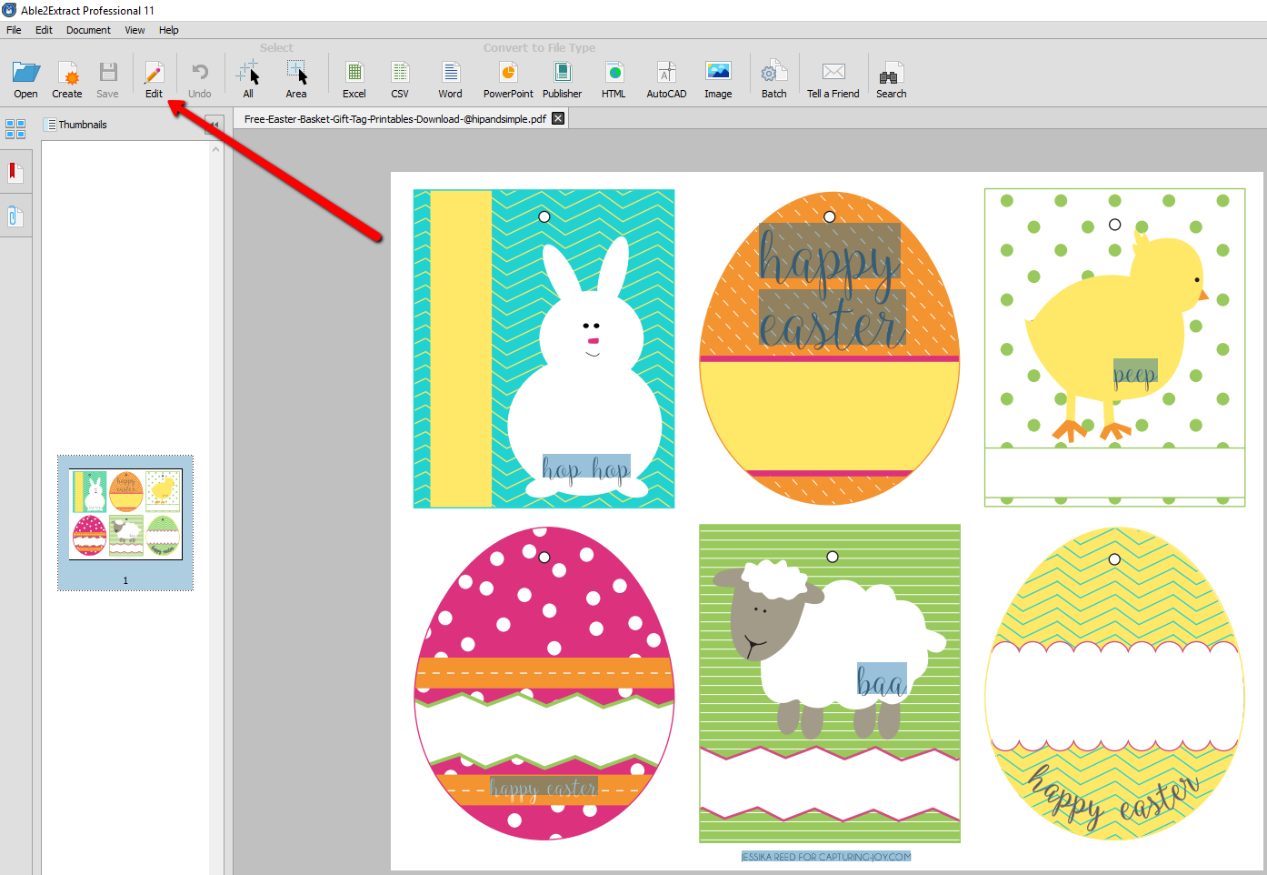 How To Convert And Edit Free Printable Easter Pdf Templates - Free Printable Easter Card Inserts