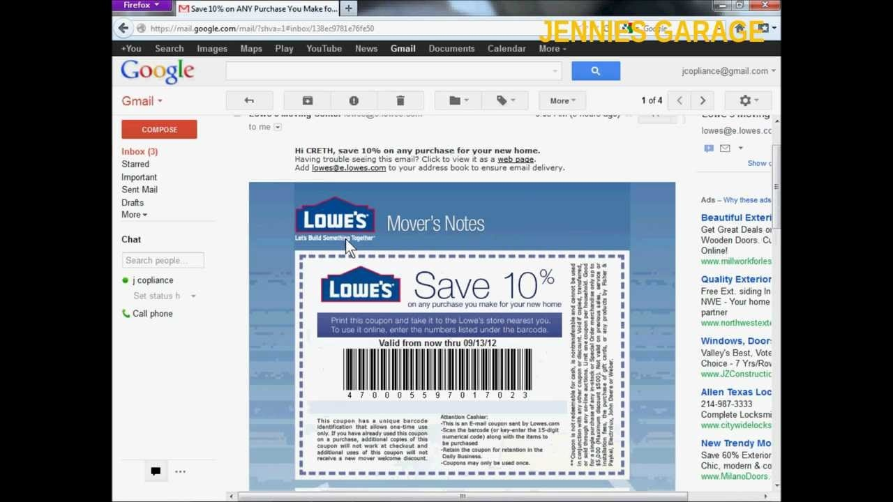 How To Get A Free Lowes 10% Off Coupon - Email Delivery - Youtube - Free Printable Lowes Coupon 2014