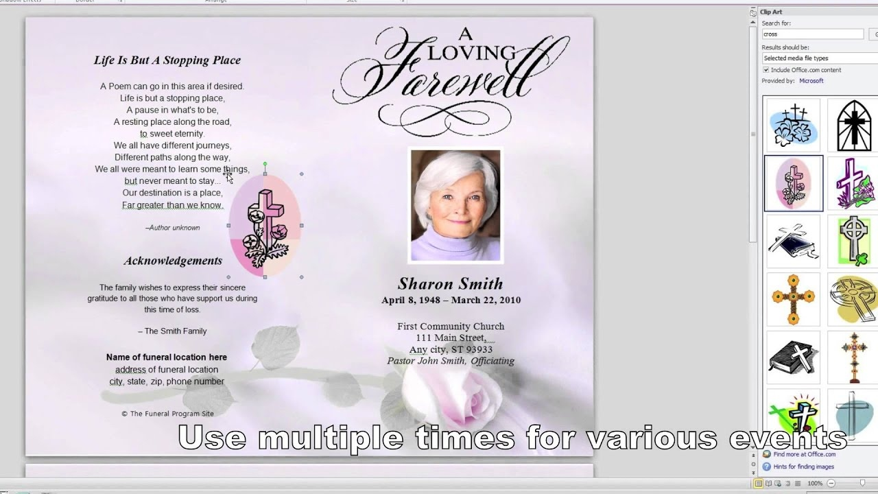 How To Make A Funeral Program In Word - Youtube - Free Printable Funeral Programs