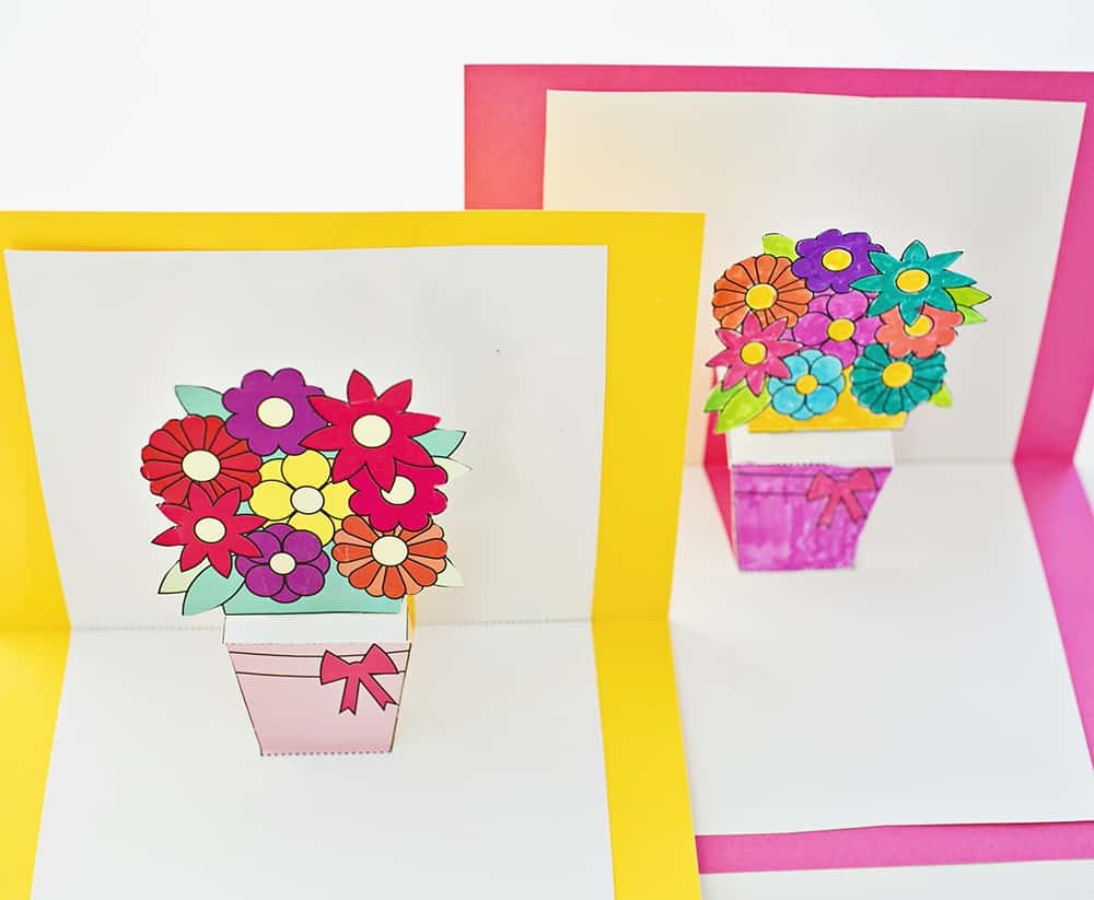How To Make Pop-Up Flower Cards With Free Printables - Free Printable Pop Up Card Templates