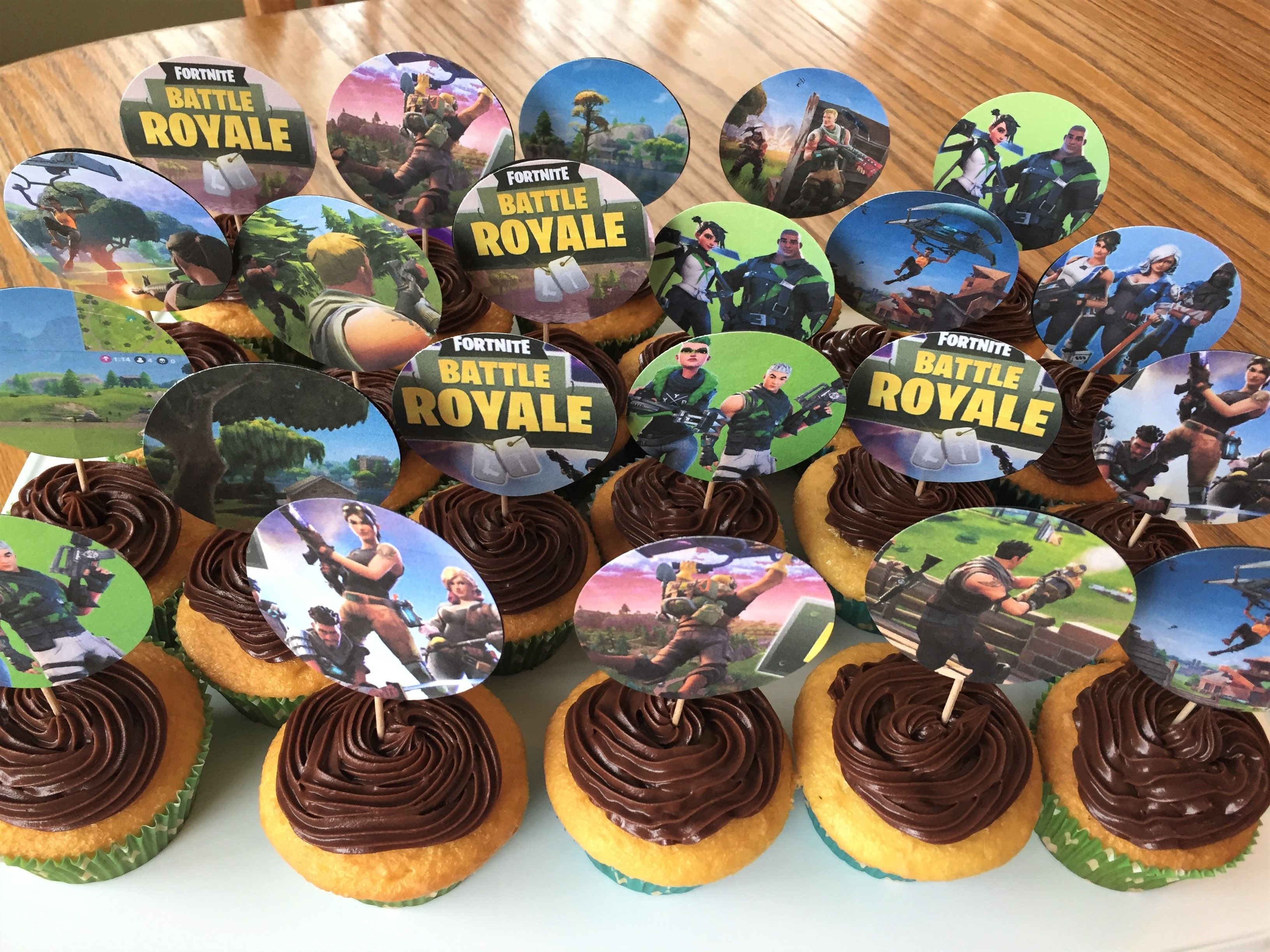 I Made These Fortnite Cupcakes For My Son's 13Th Birthday Party - Free Printable Fortnite Cupcake Toppers