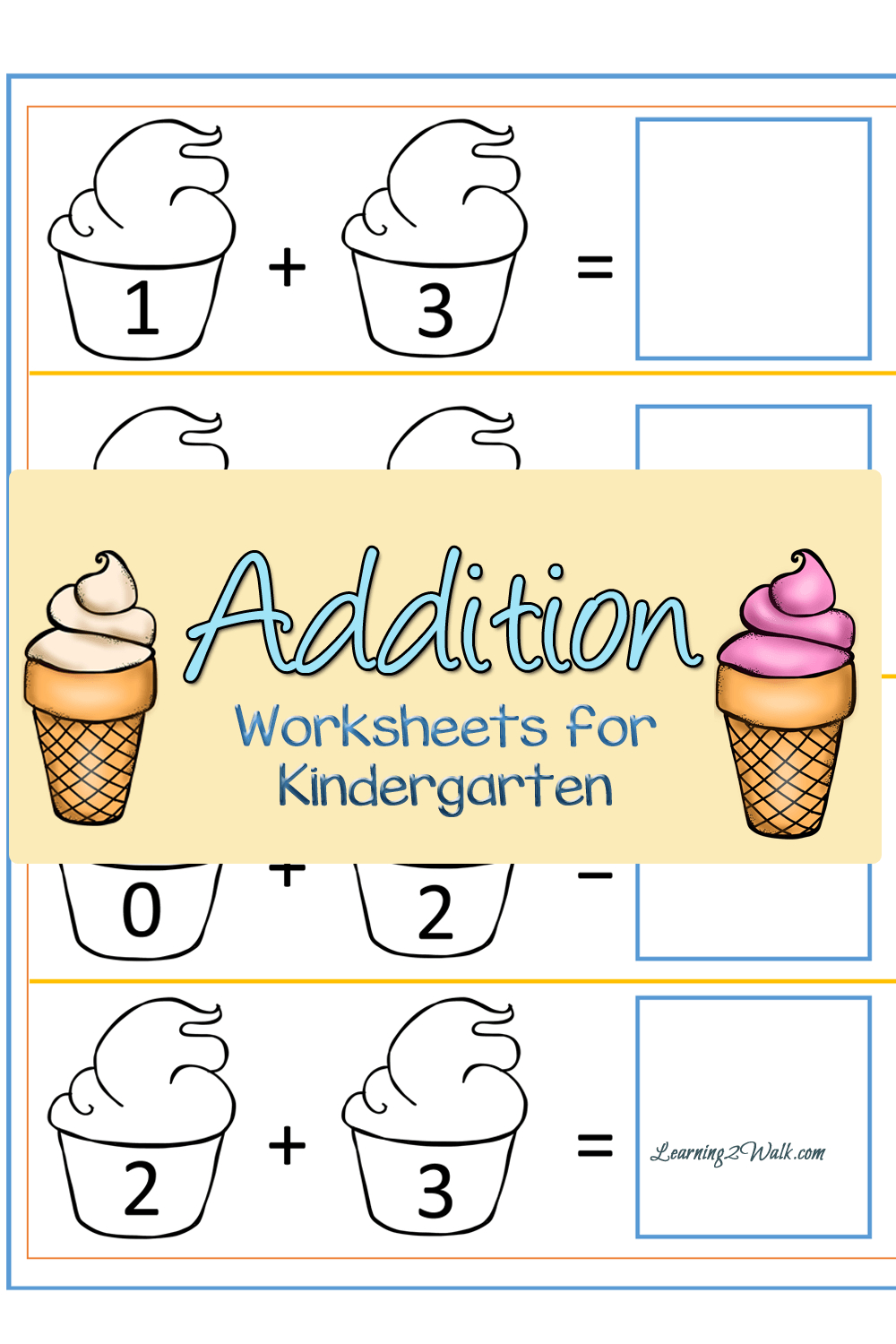 Ice Cream Addition Worksheets For Kindergarten | Summer Camp Ideas - Free Printable Ice Cream Worksheets
