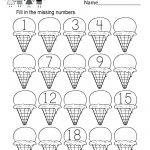 Ice Cream Missing Numbers 1 20 Worksheet For Kindergarten (Free   Free Printable Missing Number Worksheets
