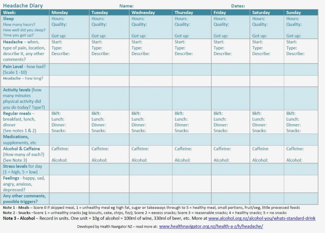 Image Result For Printable Headache Diary | Headache | Pinterest - Free Printable Headache Diary