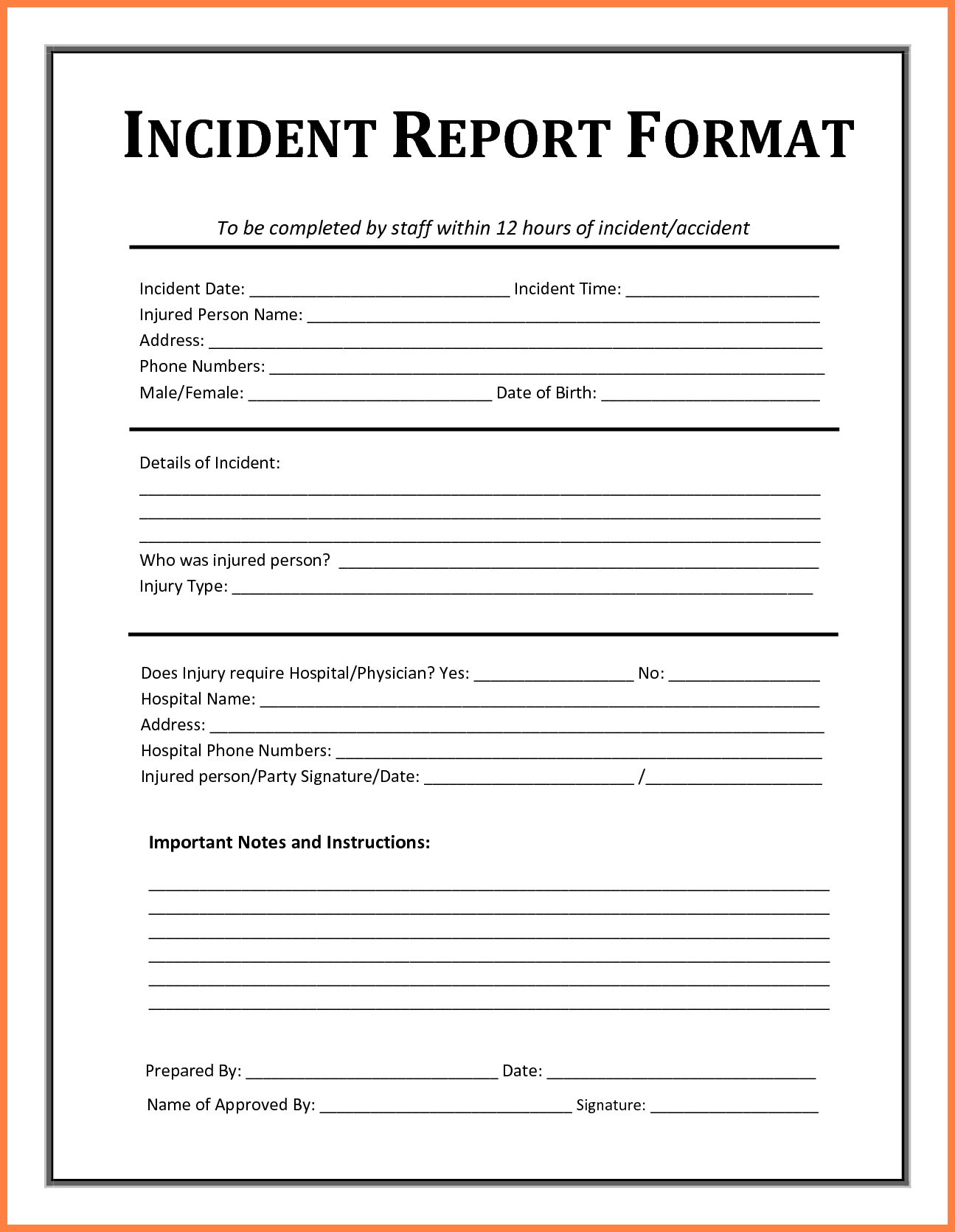 Incident Report Form Template Microsoft Excel #daycareforms #daycare - Free Printable Incident Report Form