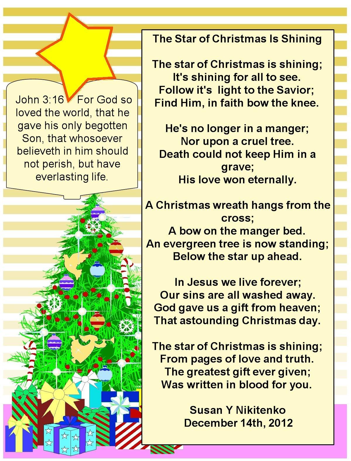 Inspirational Christian Christmas Poems | Christmas Poems | Merry - Free Printable Christian Christmas Poems