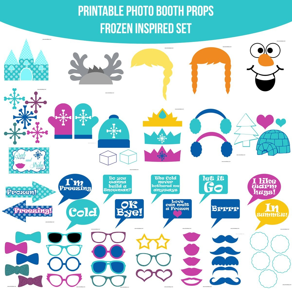 Instant Download Frozen Inspired Printable Photo Booth Prop Set - Free Printable Frozen Photo Booth Props
