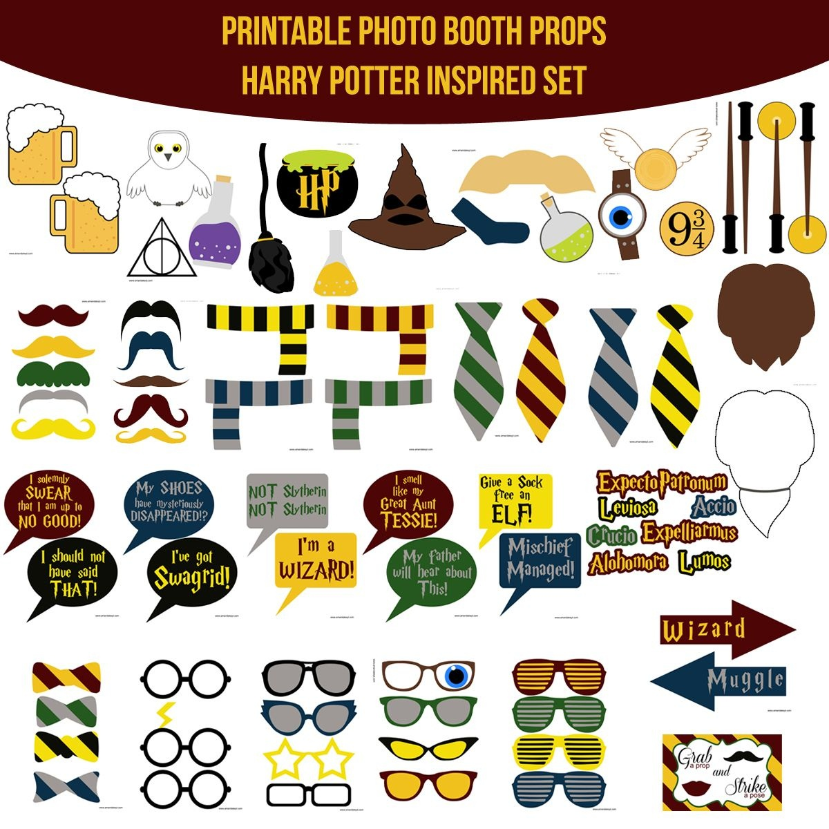 Instant Download Harry Potter Inspired Printable Photo Booth Prop - Free Printable Harry Potter Clip Art