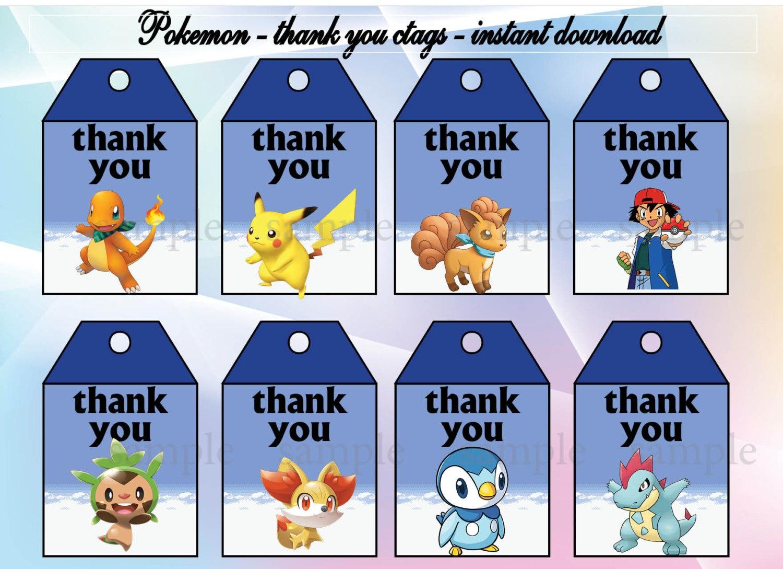 Instant Download Pokemon Thank You Tags Pokemon Birthday | Etsy - Free Printable Pokemon Thank You Tags