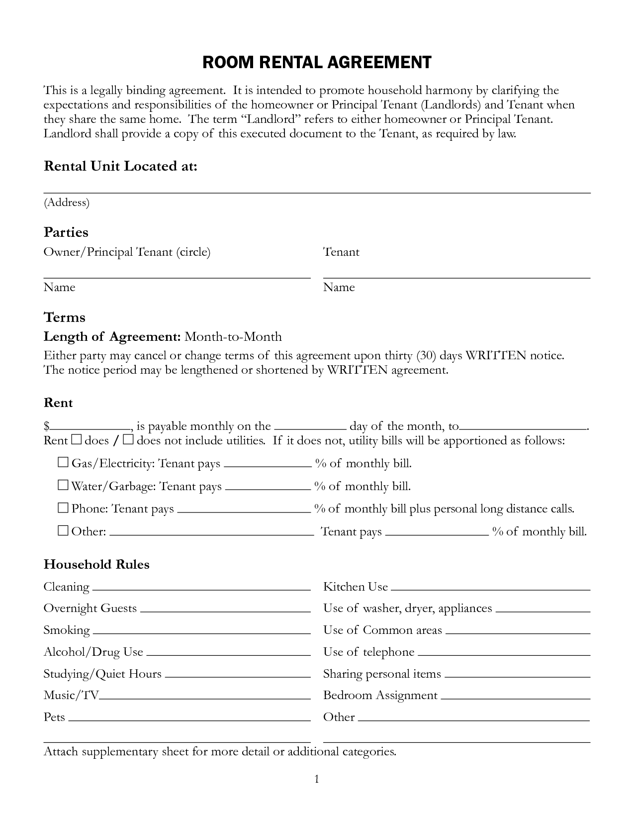 Interesting Room Rental Lease Agreement Form Template With Unit - Free Printable Roommate Rental Agreement