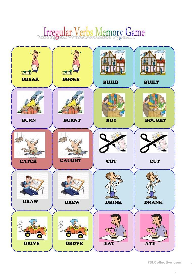 Irregular Verbs Memory Card Game( 1/3) Worksheet - Free Esl - Free Printable Matching Cards