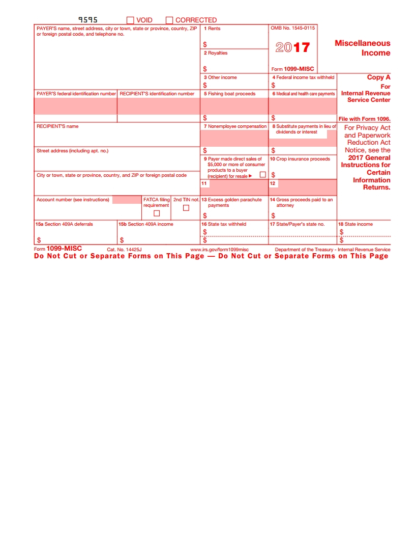 Irs 1099 Misc Form - Free Download, Create, Fill And Print - Free Printable 1099 Form 2018