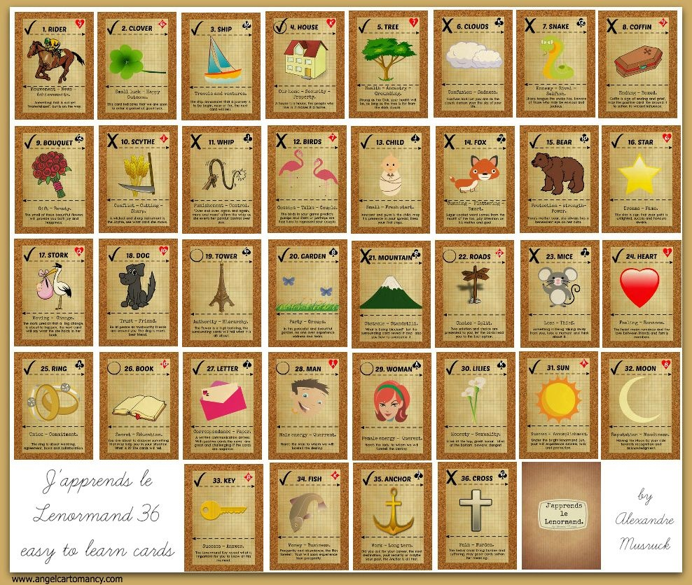 J'apprends Le Lenormand | Adult Color, Free Printables & Collage - Free Printable Lenormand Cards