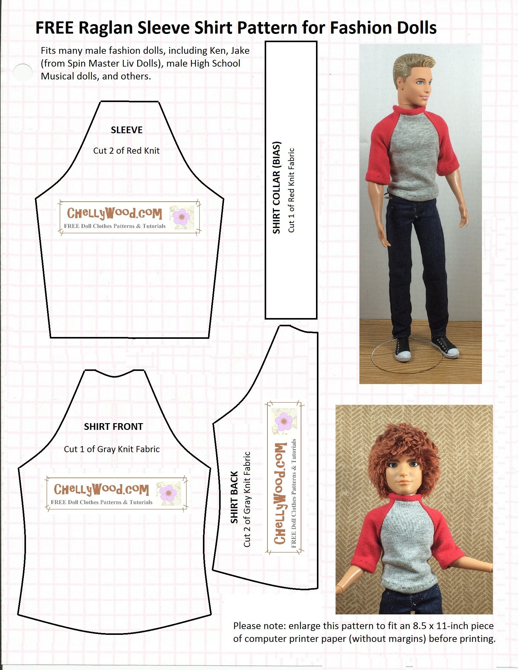 Ken Doll Patterns Printable | Doll Clothes Patterns | Chelly Wood - Ken Clothes Patterns Free Printable