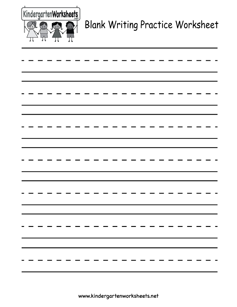 Kindergarten Blank Writing Practice Worksheet Printable | Writing - Free Printable Practice Name Writing Sheets