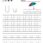 Kindergarten Letter U Writing Practice Worksheet Printable   Free Printable Letter Writing Worksheets