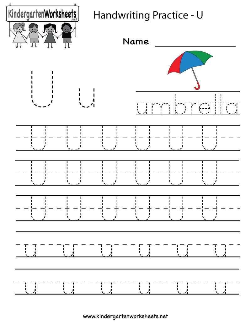 Kindergarten Letter U Writing Practice Worksheet Printable - Free Printable Letter Writing Worksheets