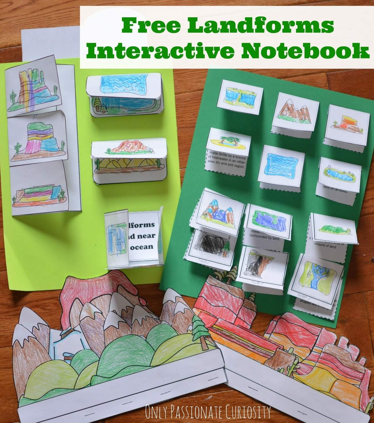 Landforms Interactive Notebook Pack - Only Passionate Curiosity - Free Interactive Notebook Printables