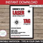 Laser Tag Invitation Template Birthday Party Instant | Etsy   Free Printable Laser Tag Invitation Template