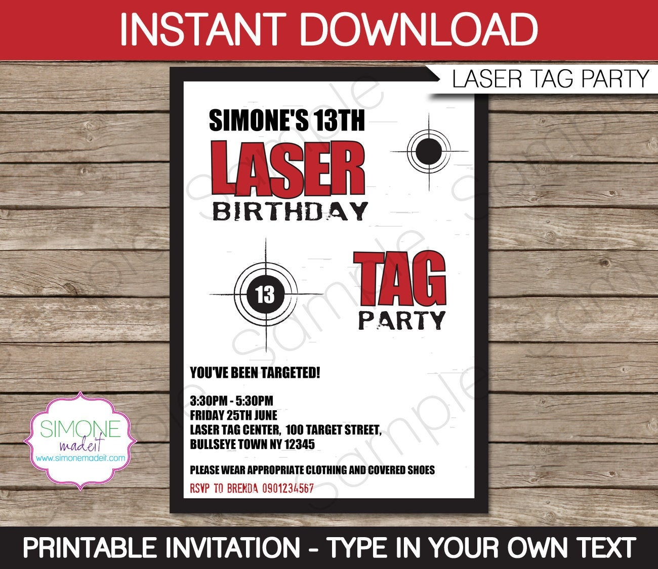 Laser Tag Invitation Template Birthday Party Instant | Etsy - Free Printable Laser Tag Invitation Template