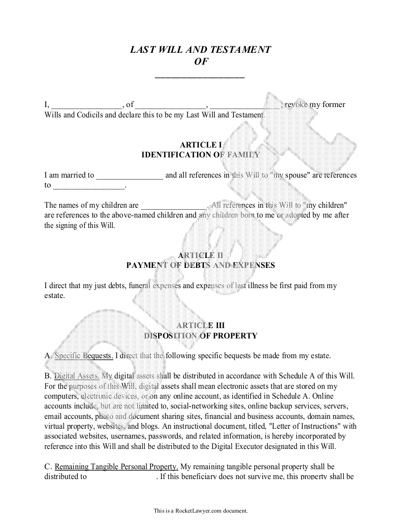 Last Will - Free Last Will And Testament Form, Document Sample - Free Printable Will Papers