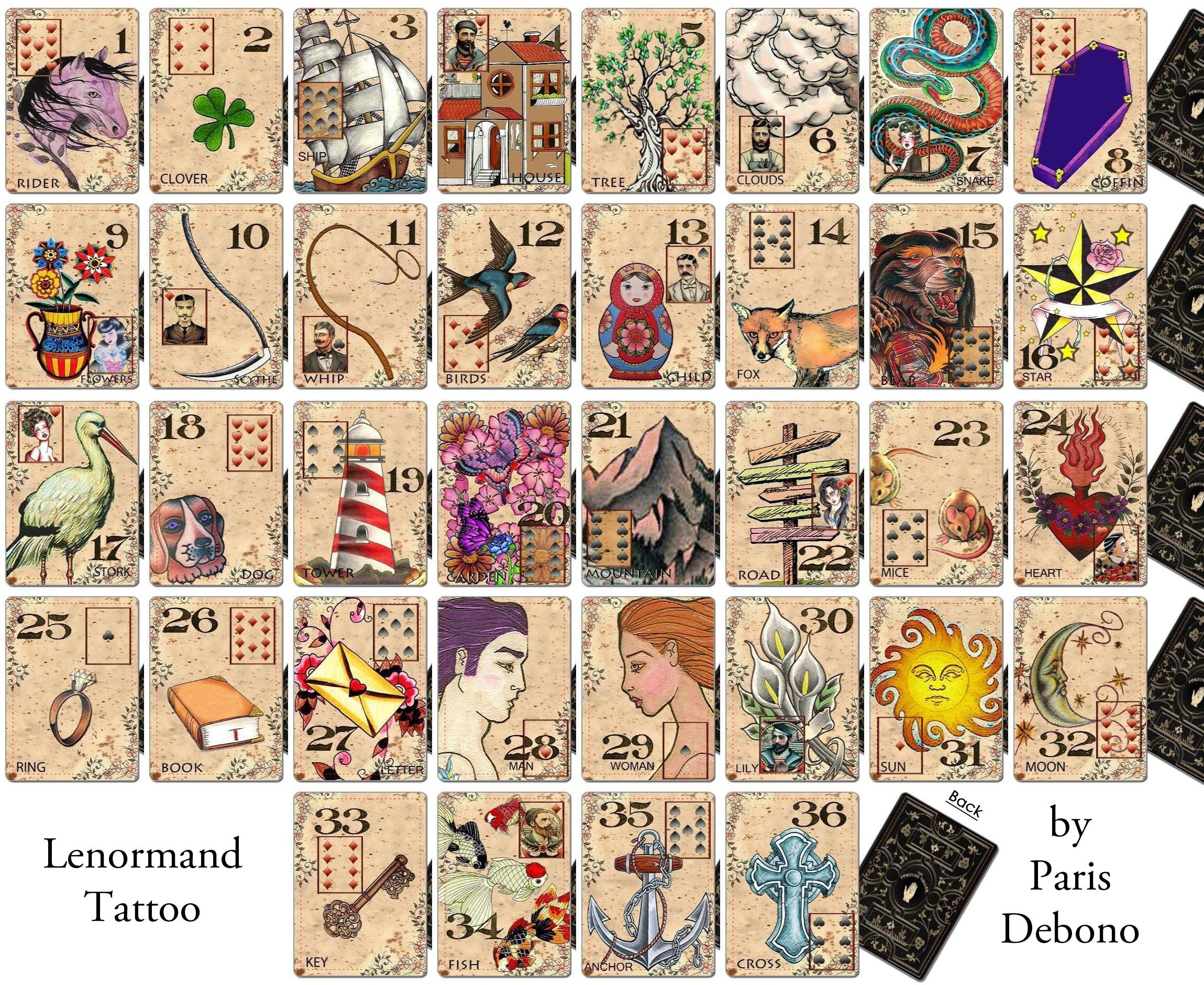 Lenormand Tattoo Deckparis Debono | Products I Love | Tarot - Free Printable Lenormand Cards