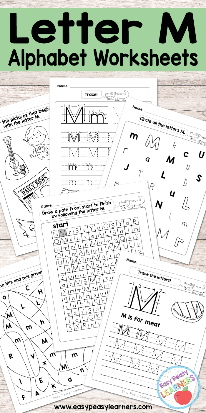 Letter M Worksheets - Alphabet Series - Easy Peasy Learners - Free Printable Alphabet Worksheets