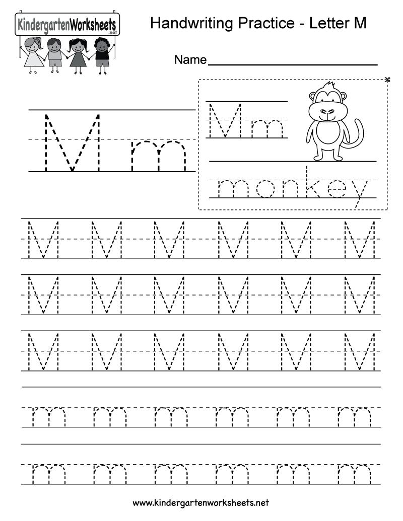 Letter M Writing Practice Worksheet - Free Kindergarten English - Free Printable Letter Writing Worksheets