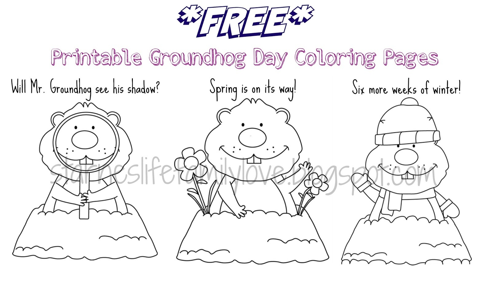 Life. Family. Love.: Groundhog Day Fun Plus *free* Printables! - Free Groundhog Day Printables