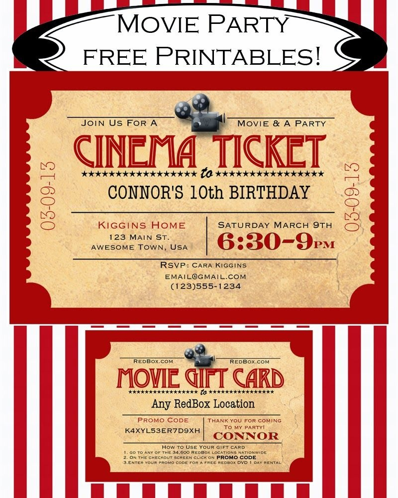 Like Mom And Apple Pie: A Summer Of Movies! Free Printables! Free - Movie Birthday Party Invitations Free Printable