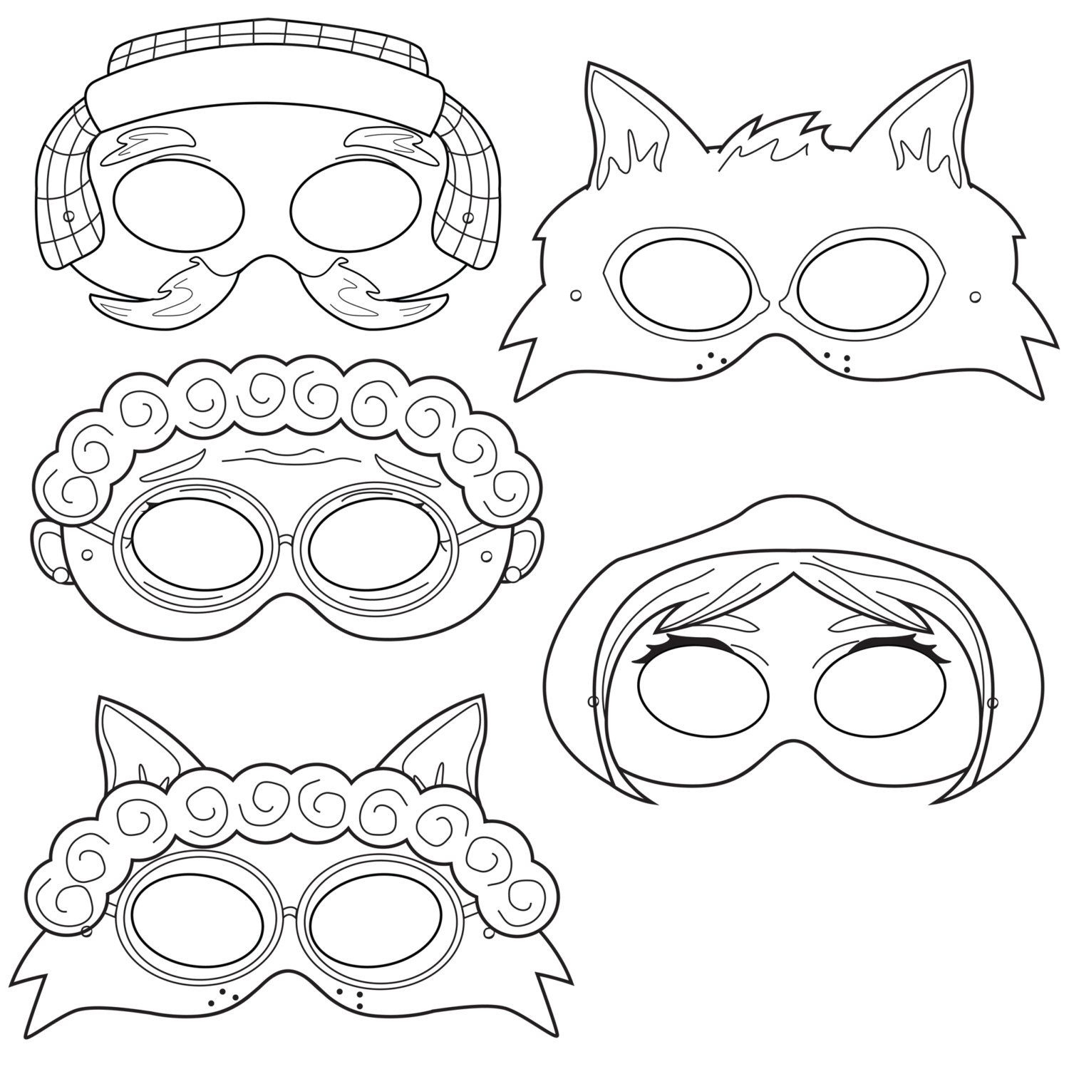 Little Red Riding Hood Printable Coloring Masks, Little Red, Wolf - Little Red Riding Hood Masks Printable Free